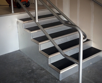 Access Flooring Steps with Custom Rails