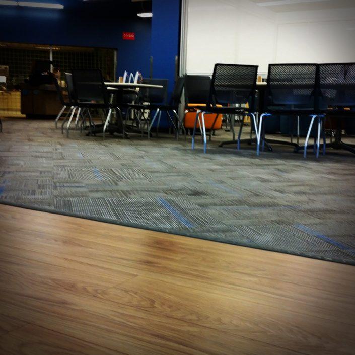 Luxury Vinyl Tile & Carpet in Cafeteria